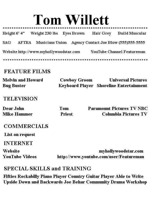 My Hollywood Star Resume Page