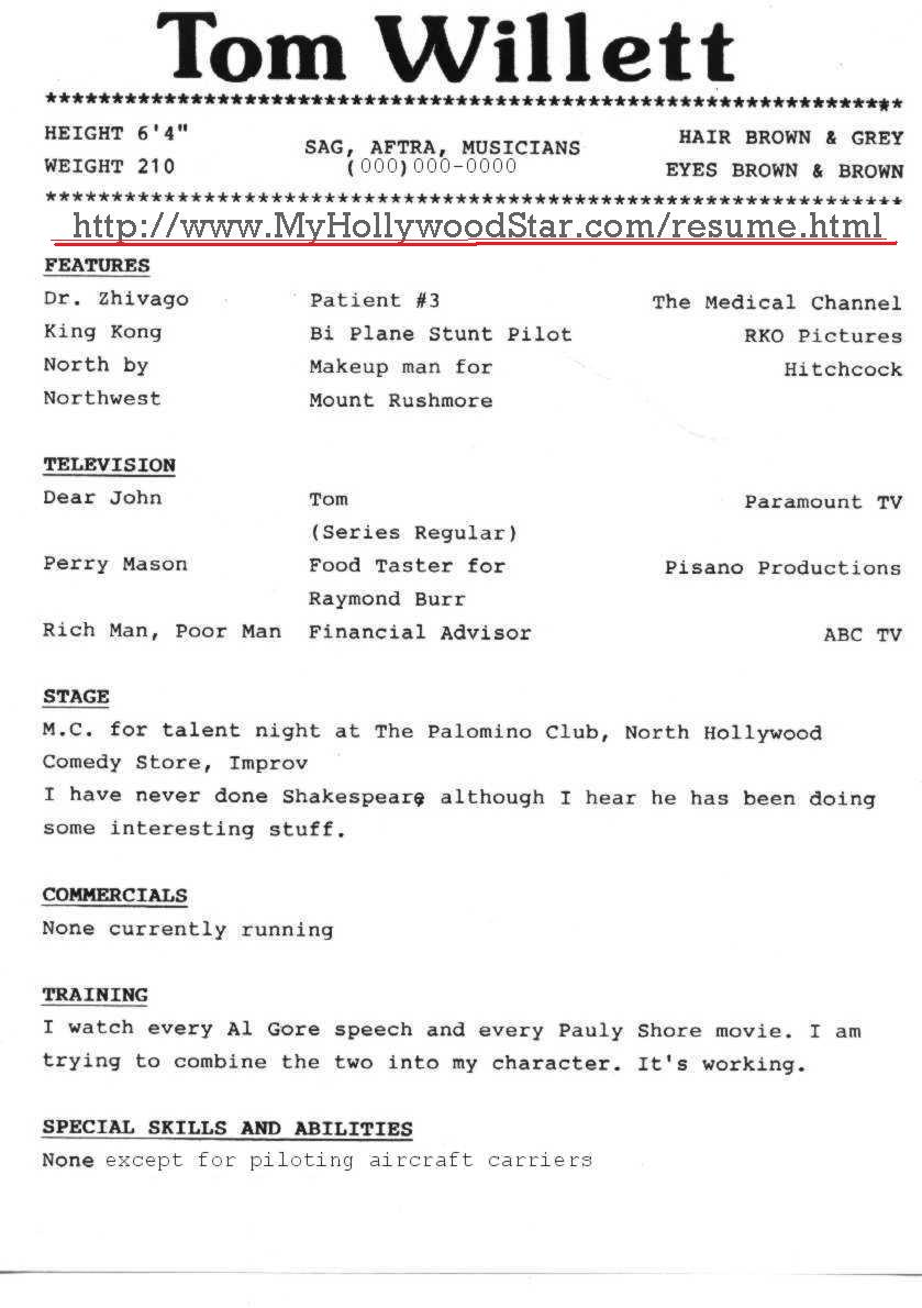 my hollywood star acting resume page 2 comical resume